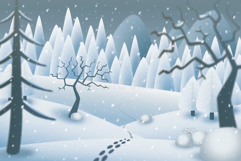 Ilustracja odciski stopy w romantycznym śnieżnym krajobrazie ilustracji