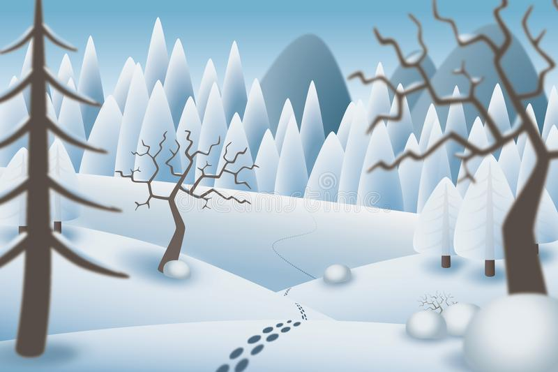 Ilustracja odciski stopy w romantycznym śnieżnym krajobrazie ilustracja wektor