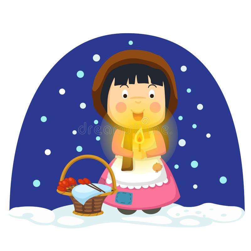 Ilustracja odizolowywał małą zapałczaną dziewczyny bajkę ilustracji