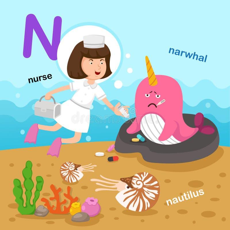 Ilustracja Odizolowywający abecadło list N-narwhal, łodzik, pielęgniarka ilustracji
