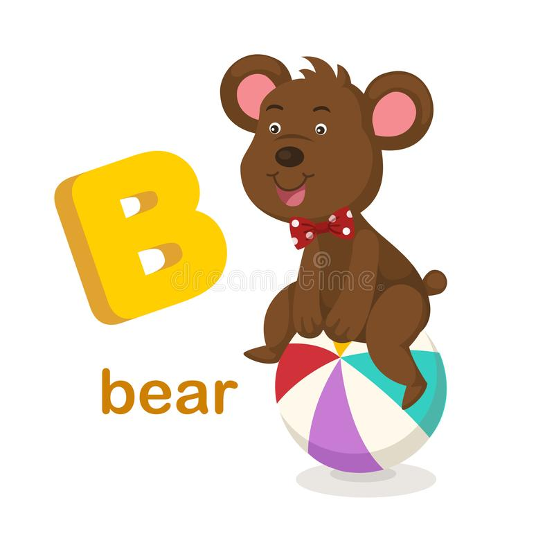 Ilustracja Odizolowywający abecadło listu b niedźwiedź royalty ilustracja