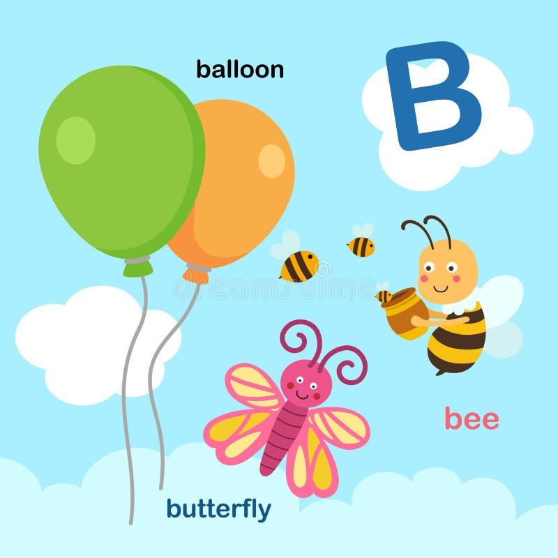 Ilustracja Odizolowywający abecadło listu balon, pszczoła, motyl royalty ilustracja