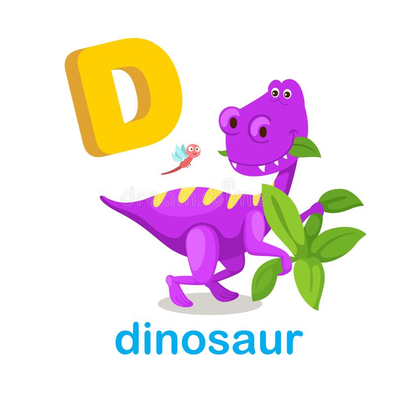 Ilustracja Odizolowywający abecadło listu d dinosaur royalty ilustracja