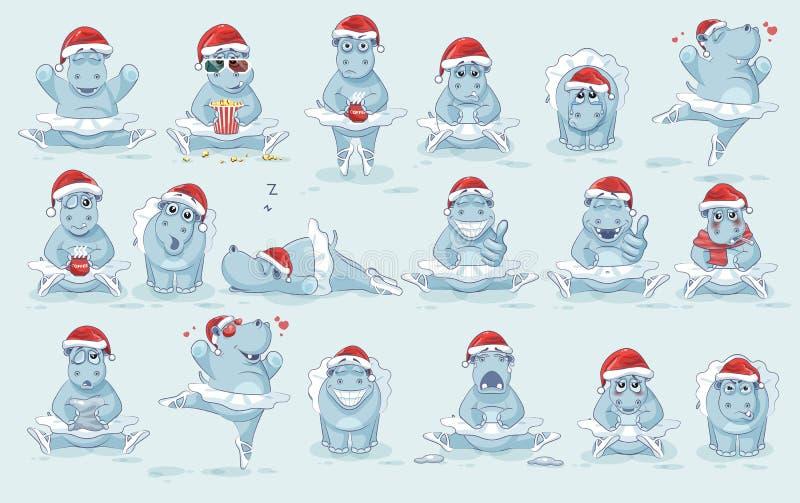 Ilustracja odizolowywający Emoji charakteru kreskówki baleriny hipopotam tanczy baletniczych majcherów emoticons różne emocje ilustracja wektor