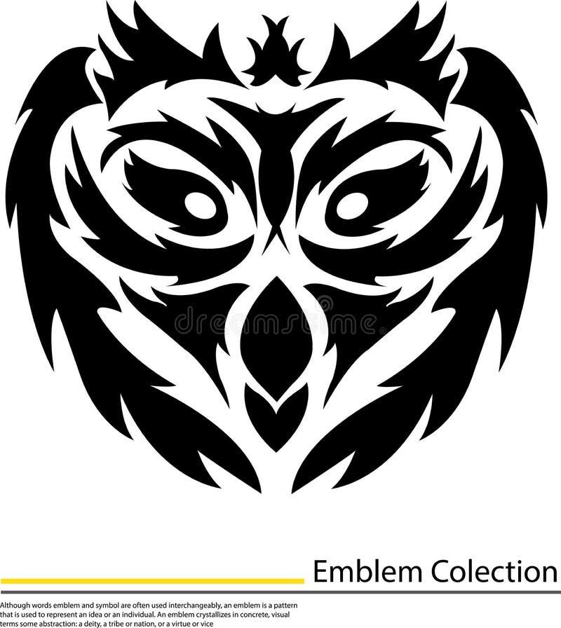 Ilustracja odosobniona tatuaż twarzy sowa