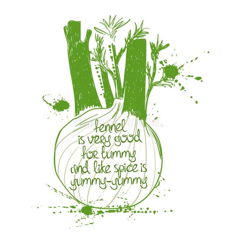 Ilustracja Odosobniona Zielona koper sylwetka ilustracja wektor