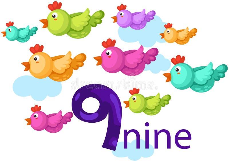 Liczby 9 charakter z ptakami royalty ilustracja