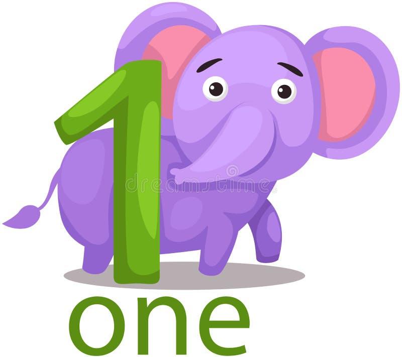 Liczby jeden charakter z słoniem ilustracji