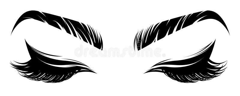 Ilustracja oko brew na białym tle i makeup