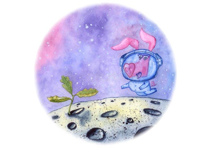 Ilustracja okrąg z świnią w astronautycznym kostiumu znajduje nowego życie na księżyc, ręka rysująca z akwarelą obrazy royalty free