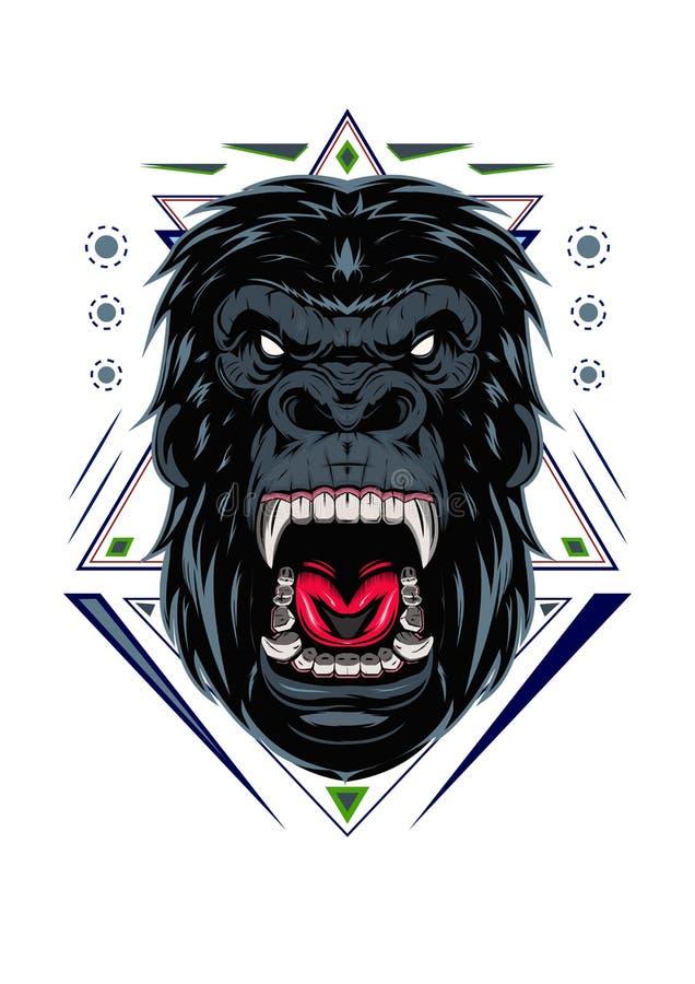 Ilustracja, okrutnie goryla kierownicza, Szalenie goryl twarz z świętą geometrią na białym tle/, ilustracja wektor