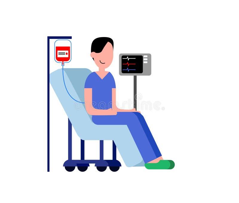 Ilustracja osoba w szpitalnym krześle podczas gdy otrzymywający krwionośną darowiznę ilustracji