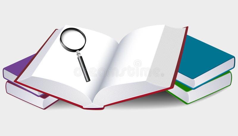 Ilustracja otwarta książka z magnifier royalty ilustracja