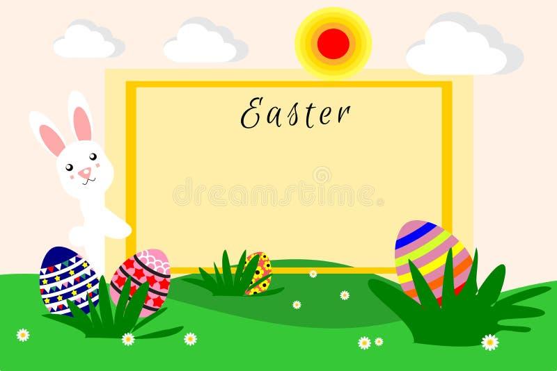 Ilustracja płaska projekt kreskówka, Wielkanocni jajka, królik i Wielkanocny królik, ilustracja wektor