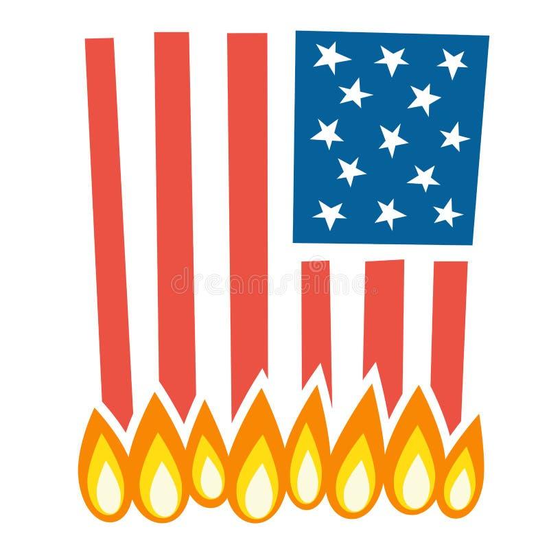 Ilustracja płonąca flaga amerykańska royalty ilustracja