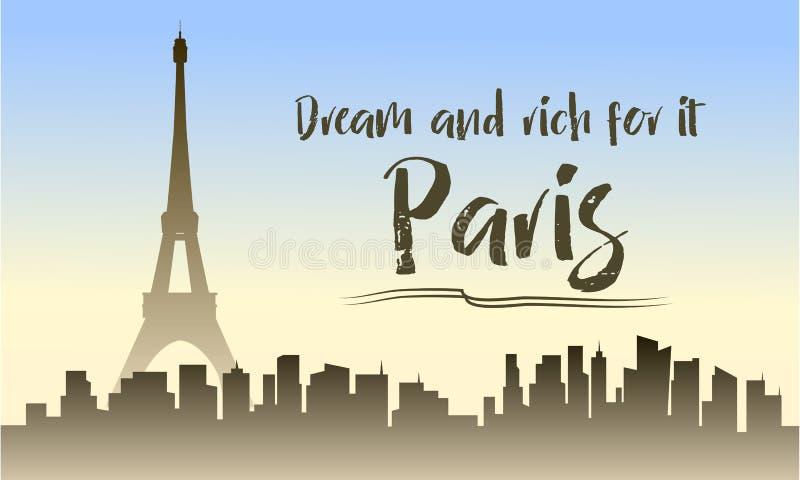 Ilustracja Paris sylwetka ilustracji