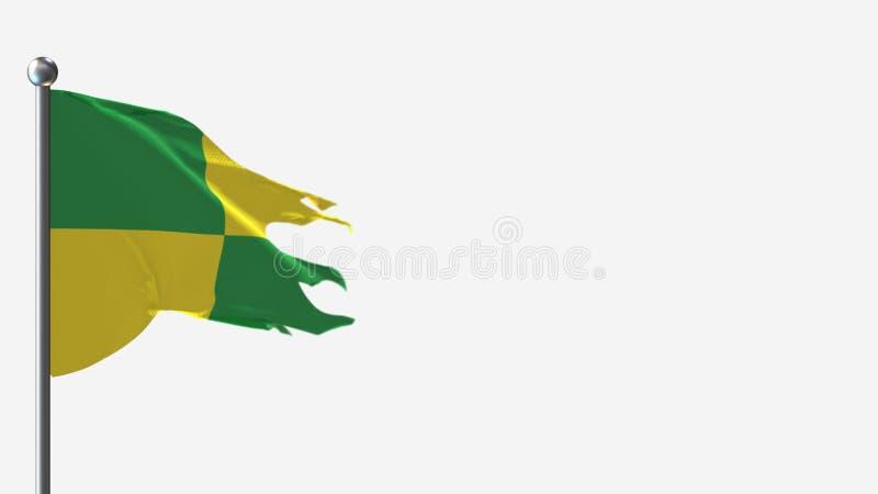 Ilustracja Pastaza Ecuador 3D z flagą falującą na Flagpole royalty ilustracja