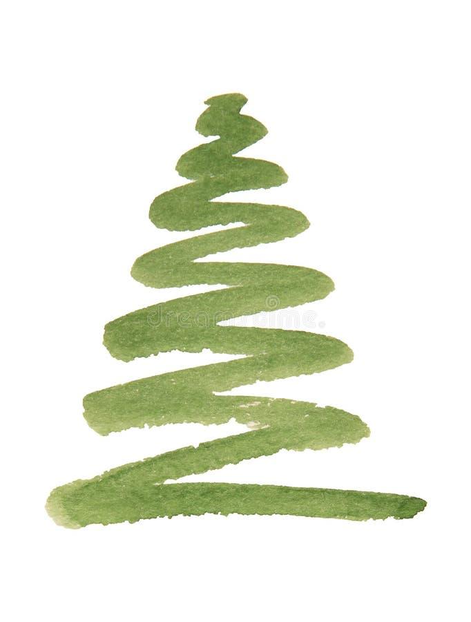 Ilustracja piękna zielona choinka malująca fotografia royalty free