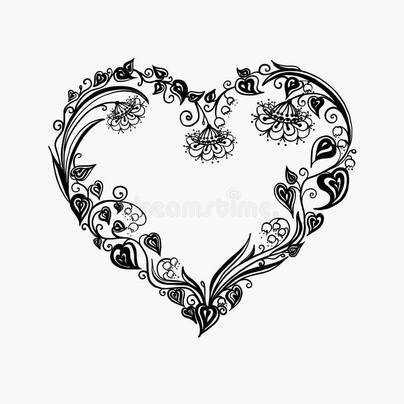 ilustracja piękny kwiecisty kierowy wektor Bukieta skład z ręką rysującą kwitnie i rośliny Monochromatyczna wektorowa romantyczna obraz royalty free