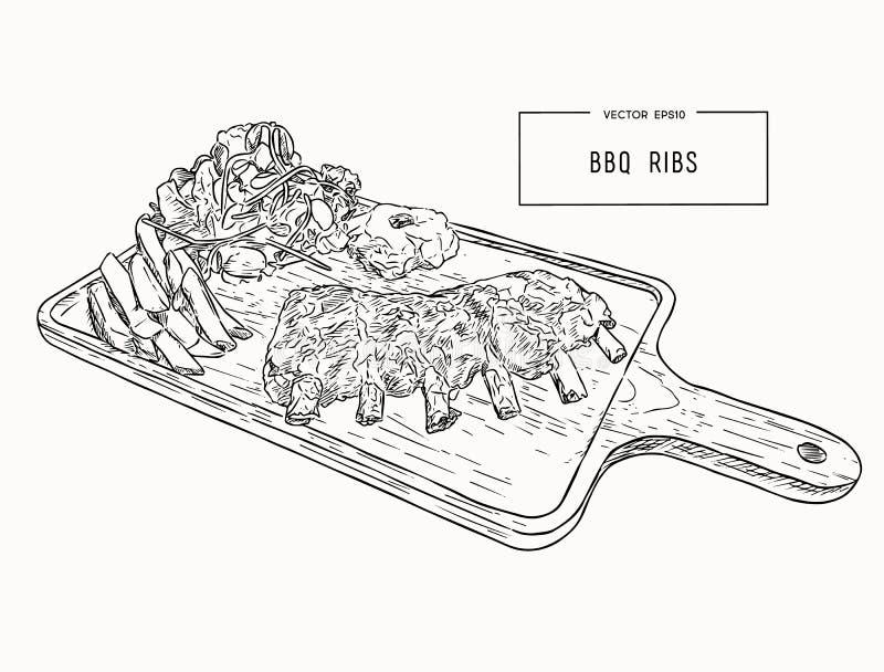 Ilustracja piec na grillu dodatkowi ziobro royalty ilustracja