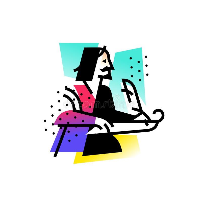 Ilustracja pisarz poeta Ikona logo dla literackiego klubu Ilustracja dla tatuażu, miejsce, plakat, pocztówka royalty ilustracja