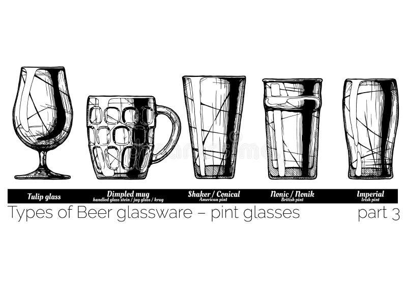 Ilustracja Piwny glassware ilustracja wektor