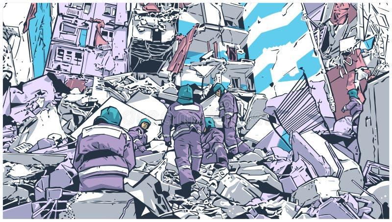 Ilustracja pożarniczy wojownicy przy zawalonym budynkiem należnym trzęsienie ziemi, katastrofa naturalna, wybuch, ogień ilustracja wektor