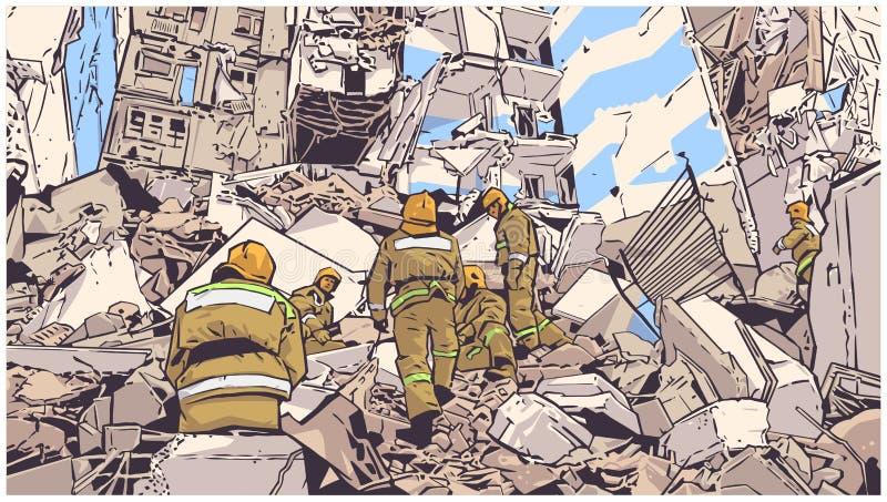 Ilustracja pożarniczy wojownicy przy zawalonym budynkiem należnym trzęsienie ziemi, katastrofa naturalna, wybuch, ogień ilustracji