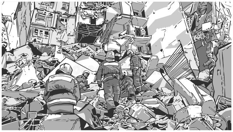 Ilustracja pożarniczy wojownicy przy zawalonym budynkiem należnym trzęsienie ziemi, katastrofa naturalna, wybuch, ogień royalty ilustracja