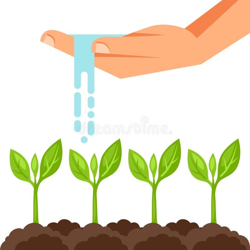Ilustracja podlewanie rośliny od ręki Wizerunek dla reklamowych broszur, sztandarów, flayers i artykułów, royalty ilustracja