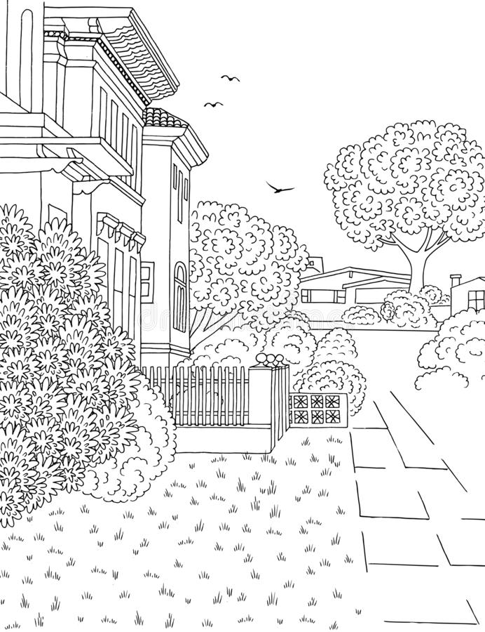 Ilustracja podmiejski neighbourhood royalty ilustracja