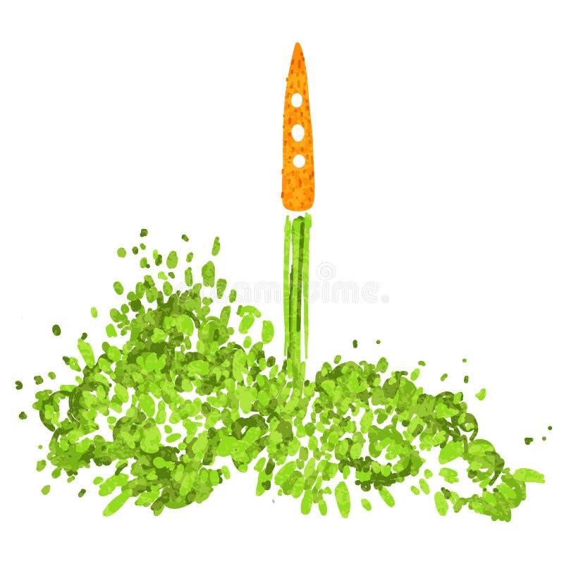 Ilustracja pojęcie zdrowy styl życia Marchewki z halms, bierze daleko jak rakieta Zaczynać nowy zdrowego ilustracja wektor