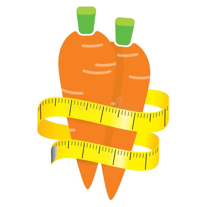 Ilustracja pomiarowa taśma wokoło świeżej pomarańczowej marchewki pojęcie diety również zwrócić corel ilustracji wektora royalty ilustracja