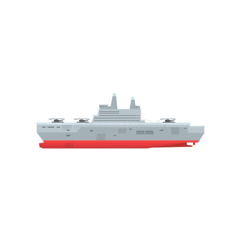Ilustracja prędkości marynarki wojennej tankowiec z helikopterami dalej aboard morski pojazd Graficzny element dla komputeru lub  royalty ilustracja
