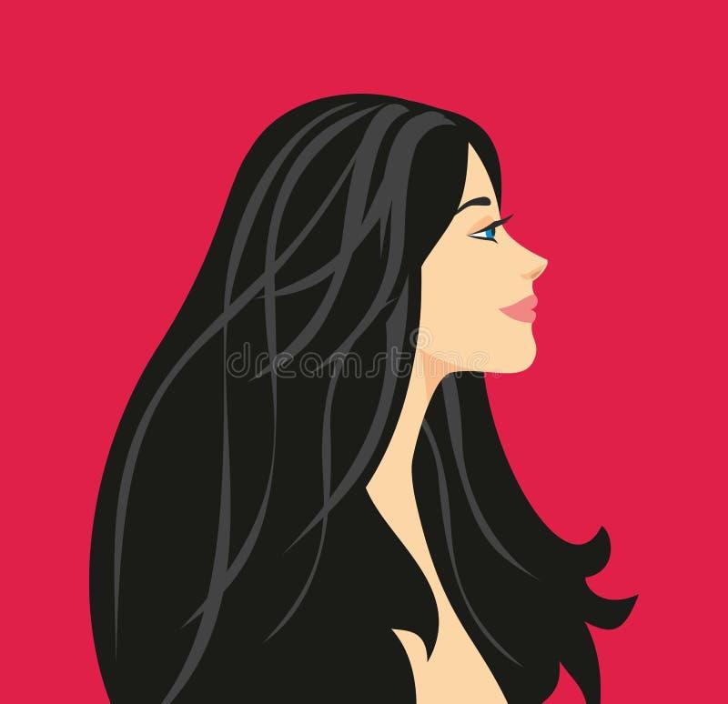 Ilustracja profil piękna dziewczyna z długim czarni włosy ilustracji