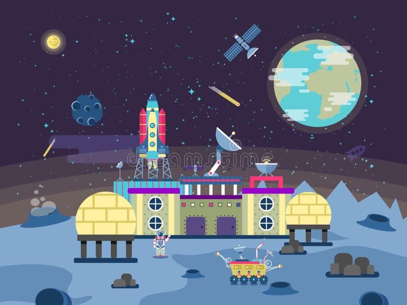 Ilustracja projekt rozwijać planety powierzchnię i zbliżać, stała mieszkalna baza, kolonializacja księżyc royalty ilustracja
