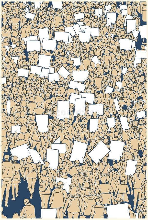 Ilustracja protestujący tłum od wysokiego kąta widoku ilustracji