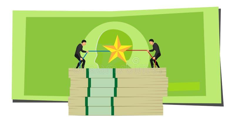 Ilustracja przedsiębiorca rywalizacja rywalizacja dwa ludzie walczy nad gwiazdami na stosie pieniądze przeciw tłu ilustracji