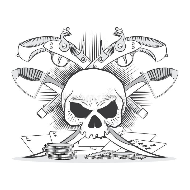 Ilustracja przedstawia czaszkę, krócicy, sabers royalty ilustracja