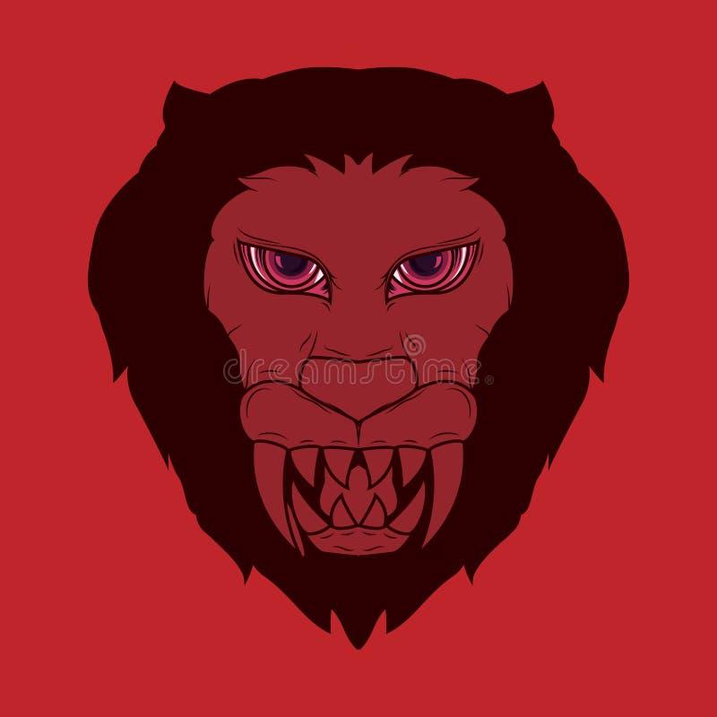 Ilustracja przerażający lew głowy demon z jaskrawymi czerwonymi i ostrymi fangs royalty ilustracja