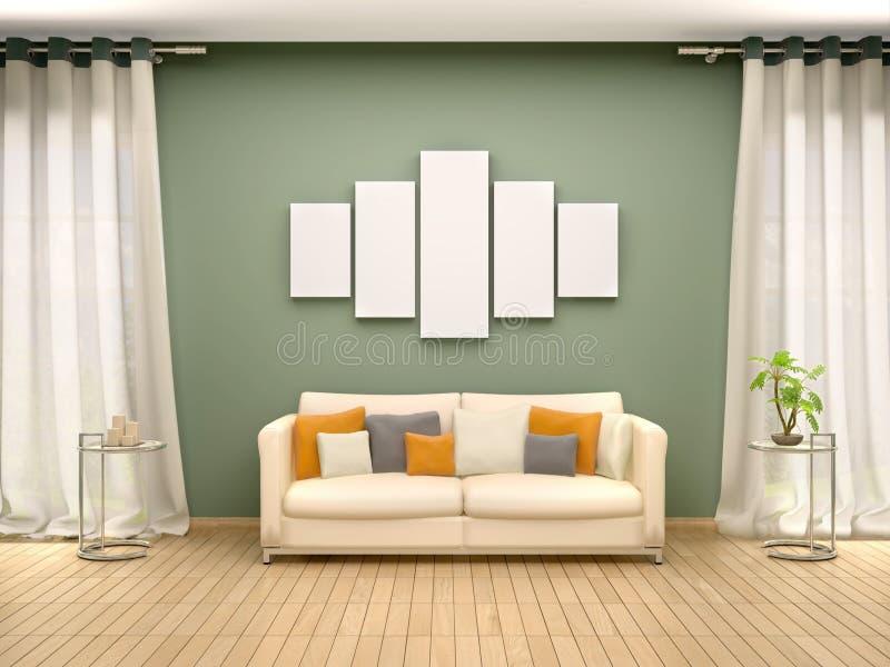 Ilustracja pusta kanwa nad kanapa w wnętrzu ilustracji