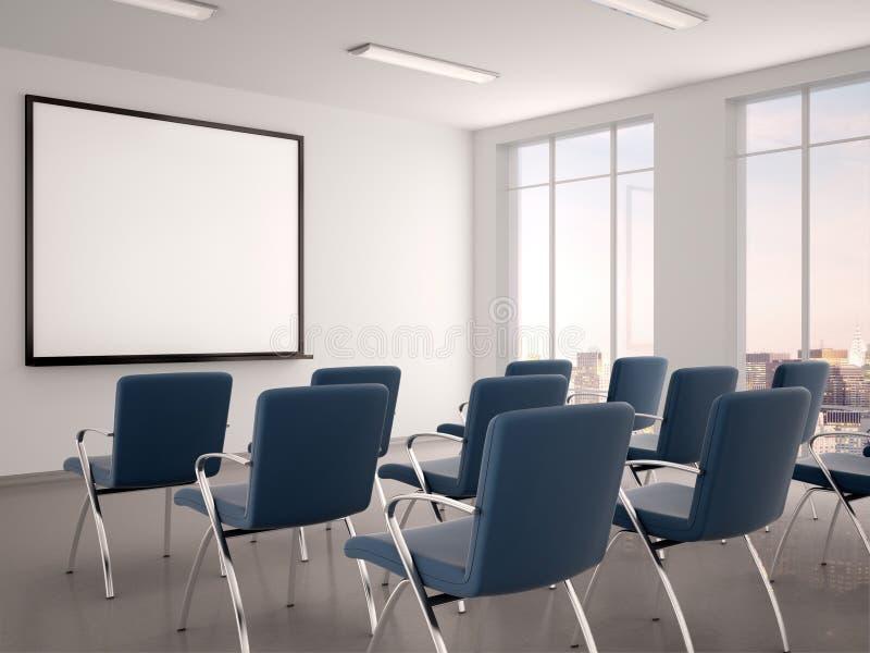 Ilustracja pusta sala konferencyjna z whiteboard dla s ilustracja wektor