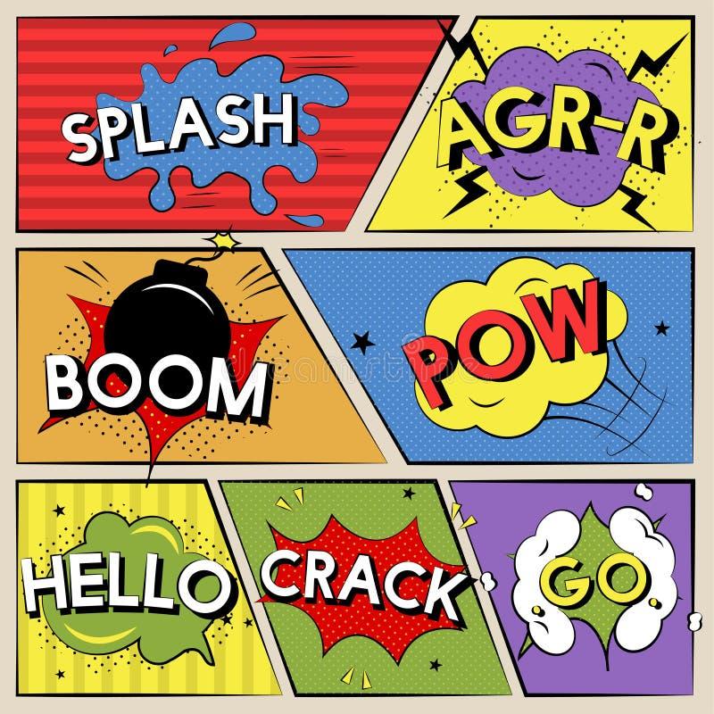 Ilustracja różni słowa od komiczki ilustracja wektor