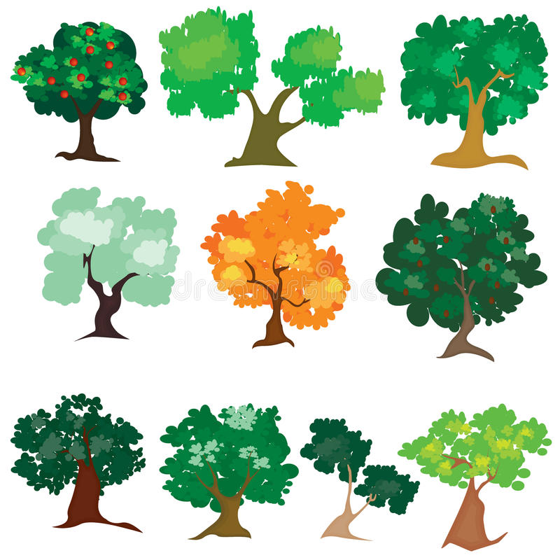 Ilustracja różny drzewo jakby royalty ilustracja