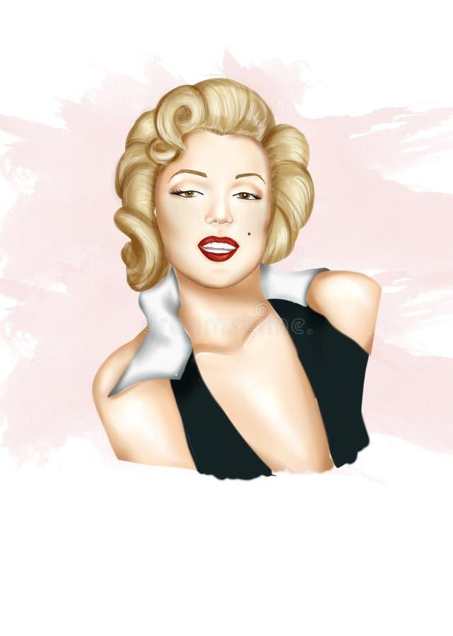 Ilustracja - ręka rysujący portret aktorka Marilyn Monroe royalty ilustracja