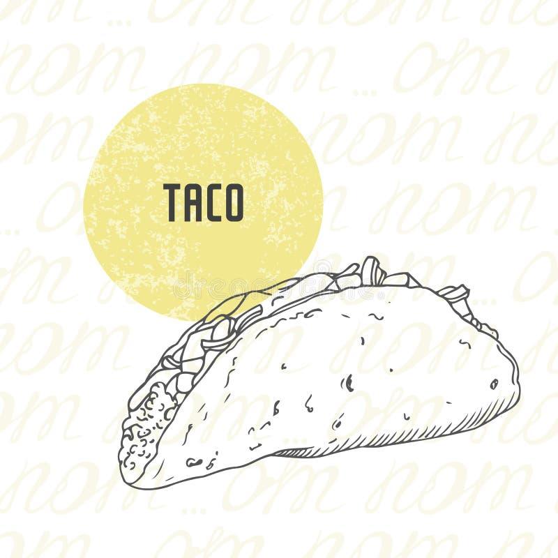 Ilustracja ręka rysujący taco ilustracja wektor