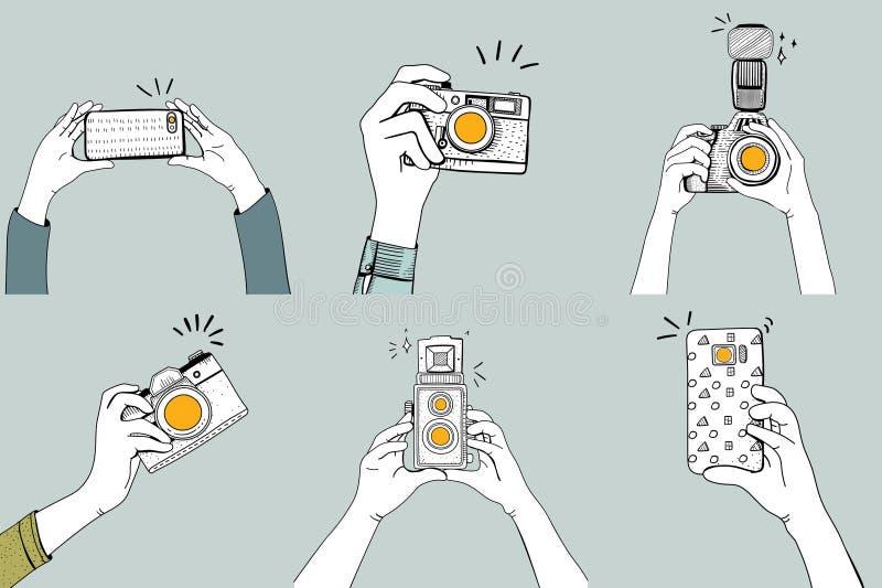 Ilustracja ręki klika obrazki z cyfrowymi przyrządami royalty ilustracja