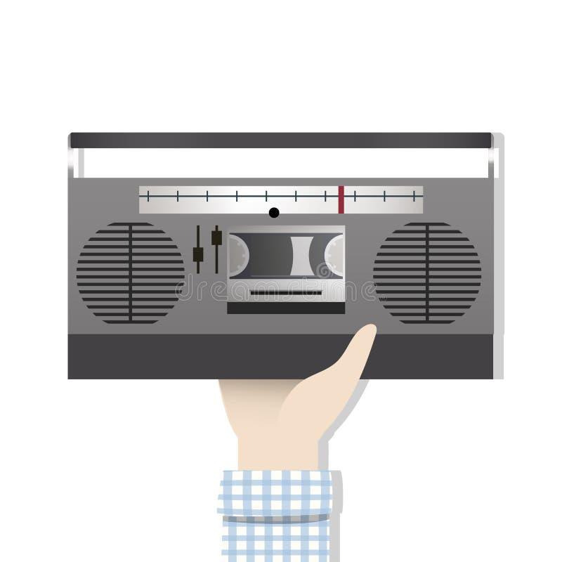 Ilustracja ręki mienia radio ilustracja wektor