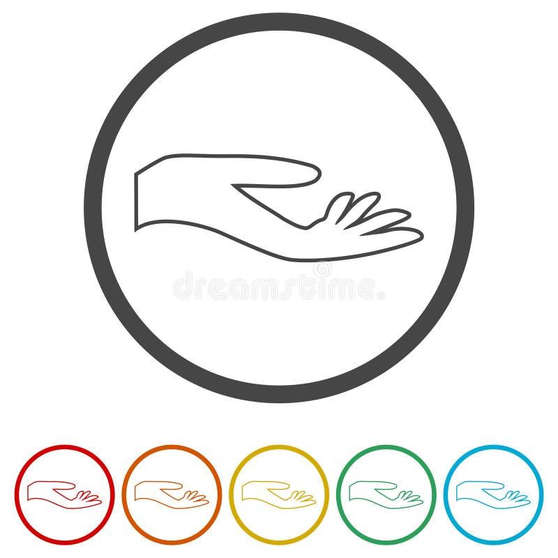 Ilustracja ręki ofiara, ręki ikona, 6 kolorów Zawierać ilustracja wektor