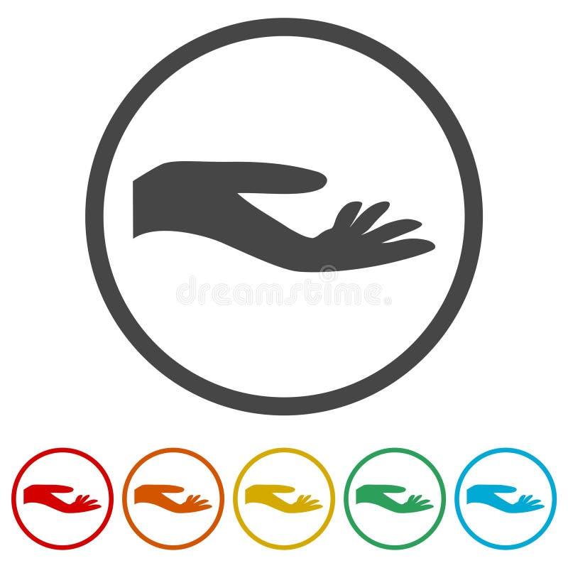 Ilustracja ręki ofiara, ręki ikona, 6 kolorów Zawierać royalty ilustracja